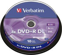 Verbatim DVD+R DL, 8.5GB, 8X, Cake Box, 10 Pack