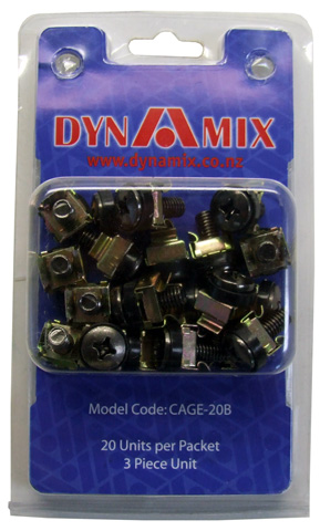 Dynamix 3-piece Cage Nut, Black, 20-pack